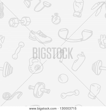 Fitness and gym hand drawn seamless pattern. Light sports seamless vector background with kettlebell, dumbbell, stopwatch, boxing gloves, measuring tape and other Fitness Equipment