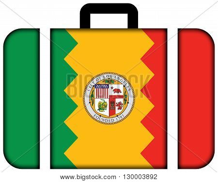 Flag Of Los Angeles, California. Suitcase Icon, Travel And Transportation Concept