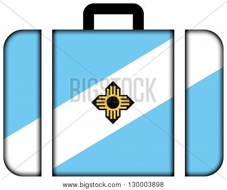 Flag Of Madison, Wisconsin. Suitcase Icon, Travel And Transportation Concept
