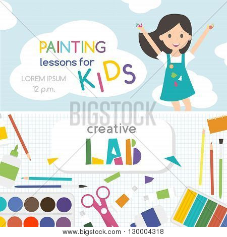 Painting lessons. Top view on art-working process. Kids creativity Lab. Banner flyer for kids art lessons or school. Vector illustration.