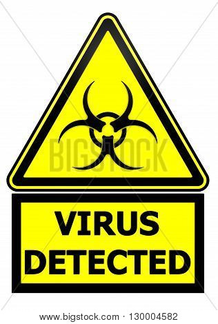 Virus detected. Warning sign. Yellow warning sign with biohazard symbol and the words