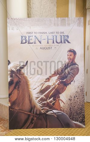 LAS VEGAS - April 13 : A display for the movie 'Ben-Hur' at Caesars Palace during CinemaCon the official convention of the National Association of Theatre Owners on April 13 2016 in Las Vegas