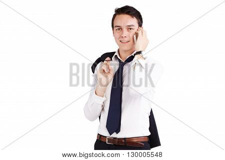 Young Caucasian Businessman Smiling With Mobile Phone