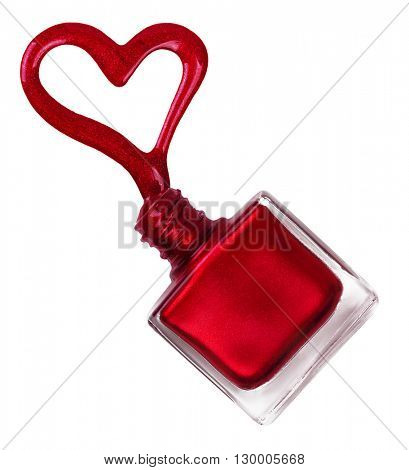 Nail polish flowing from the bottle. Heart shape of nail polish