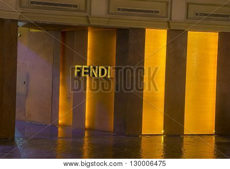 LAS VEGAS - APRIL 13 : Exterior of a Fendi store in Caesars Palace hotel in Las Vegas on April 13 2016. Fendi is a multinational luxury goods brand owned by LVMH Moet Hennessy Louis Vuitton.