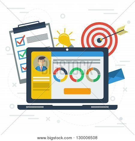 Vector flat concept personal account in internet services. Accounting services. Laptop with app, information, list to do, target, idea lamp, graphics