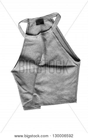Gray crumpled crop top isolated over white