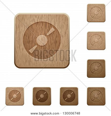 Set of carved wooden DVD buttons in 8 variations.