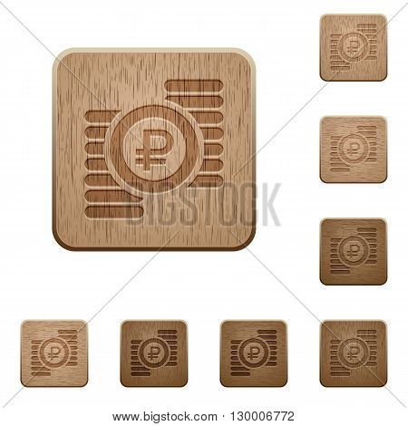 Set of carved wooden ruble coins buttons in 8 variations.