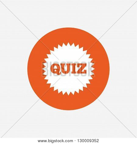 Quiz star sign icon. Questions and answers game symbol. Orange circle button with icon. Vector