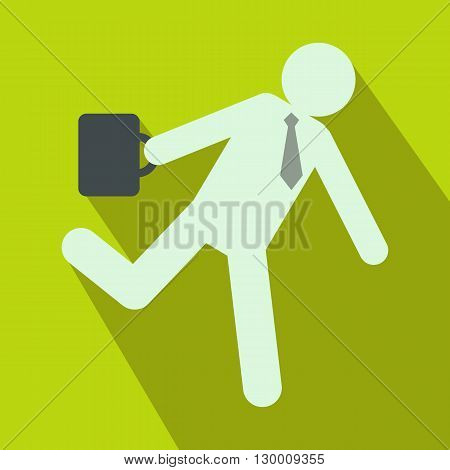 Running clerk icon in flat style on green background. Businessman late to work