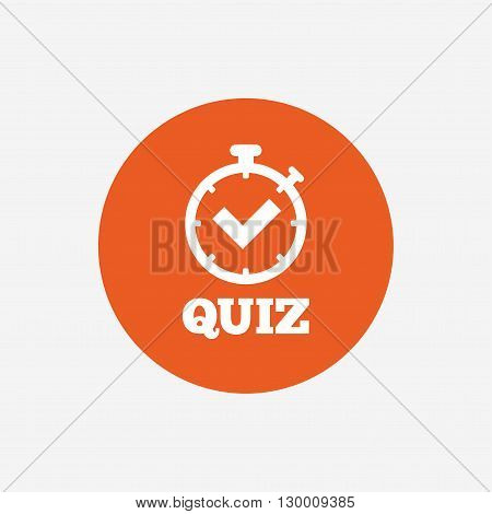 Quiz timer sign icon. Questions and answers game symbol. Orange circle button with icon. Vector