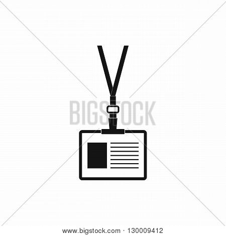 Plastic id card with clasp and lanyards icon in simple style isolated on white background