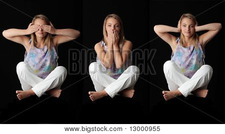 Isolated studio shot of a young woman in the See No Evil, Hear No Evil, Speak No Evil poses.