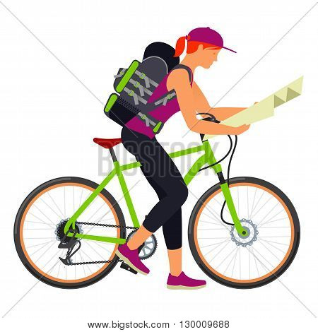 Bicycle Travel. A Woman With A Map