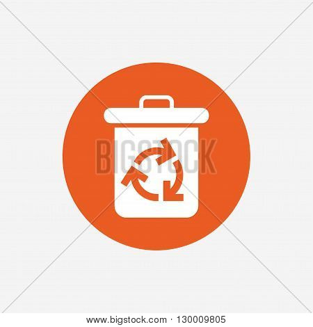 Recycle bin icon. Reuse or reduce symbol. Orange circle button with icon. Vector