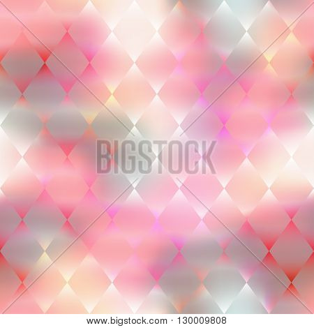 Seamless background pattern.  Pink rhombus geometric pattern on blur background.