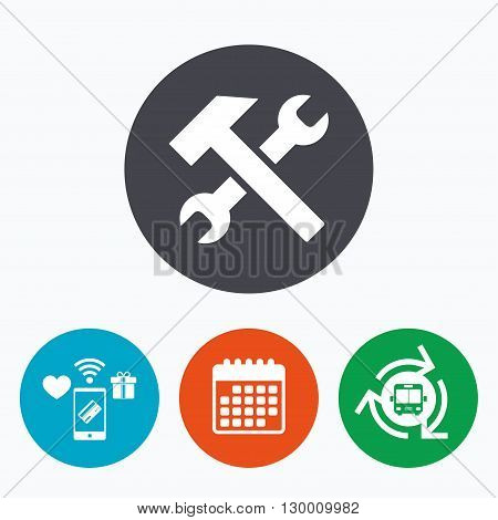 Repair tool sign icon. Service symbol. Hammer with wrench. Mobile payments, calendar and wifi icons. Bus shuttle.