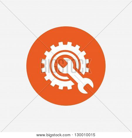 Repair tool sign icon. Service symbol. Hammer with wrench. Orange circle button with icon. Vector
