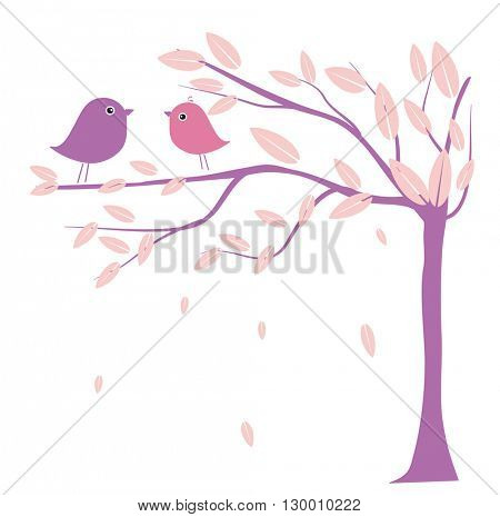 Two cute birds on the tree branches. Birds in love. Vector illustration for wedding invitation, prints, cards, wallpapers and textile