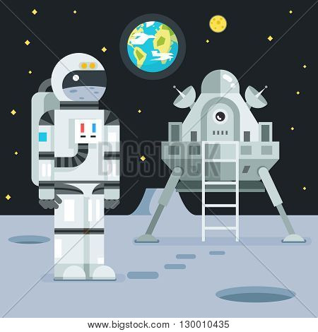 Cosmonaut Astronaut Landing Planet Lander Icon on Stylish Earth Moon Stars Background Cartoon Design Vector Illustration