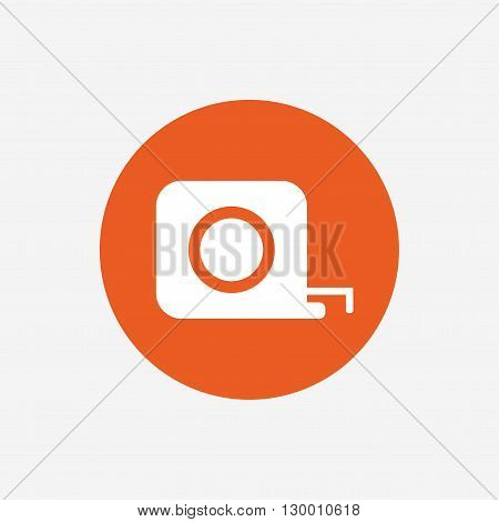 Roulette construction sign icon. Tape measure symbol. Orange circle button with icon. Vector