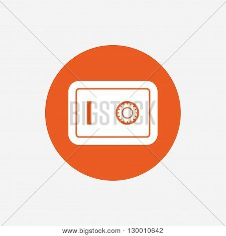 Safe sign icon. Deposit lock symbol. Protection for your documents in hotel. Orange circle button with icon. Vector