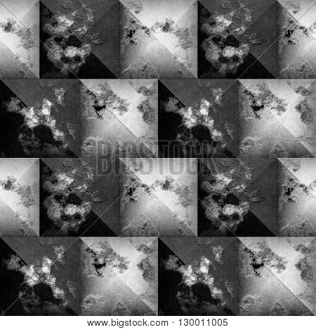 Abstract seamless 3d mosaic pattern of black and white beveled squares
