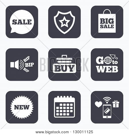 Mobile payments, wifi and calendar icons. Sale speech bubble icon. Buy cart symbol. New star circle sign. Big sale shopping bag. Go to web symbol.