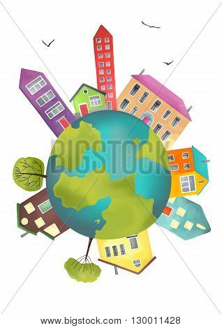 Earth planet with houses and trees. Vector illustration of a cartoon design earth planet globe with environment elements  isolated on white.
