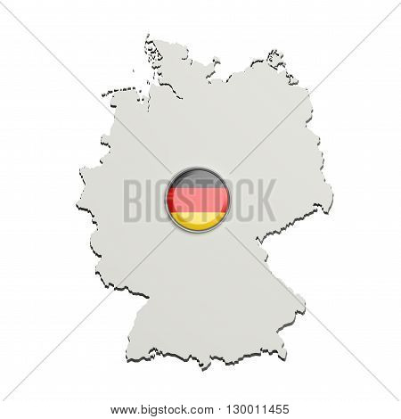 Silhouette Of Germany Map With German Flag On Button