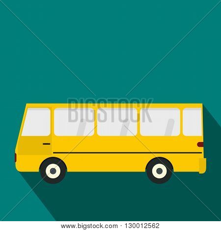 Bus icon in flat style on a blue background