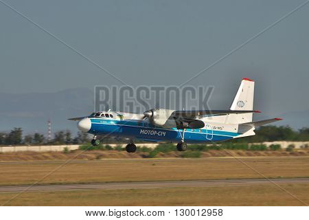 Simferopol Ukraine - September 12 2010: Antonov An-24 turboprop passenger plane is taking off from the runway in the airport