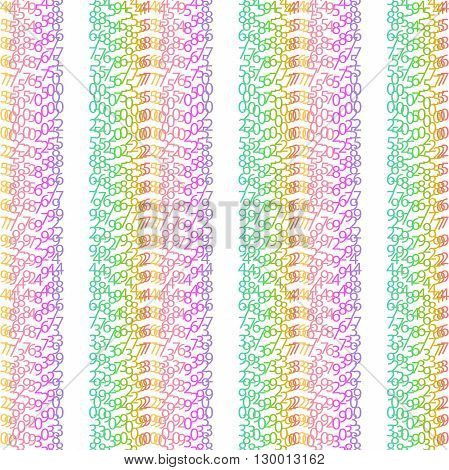 Matrix concept rainbow and white background with digits on screen. Algorithm binary data code decryption and encoding colorful rainbow row matrix vector illustration