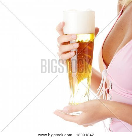 Young attractive blonde in sexy lingerie holding a beer