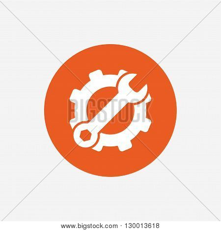 Service icon. Wrench key with cogwheel gear sign. Orange circle button with icon. Vector