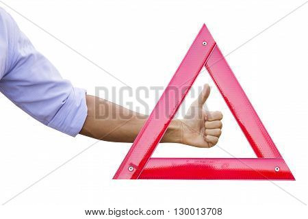 Ok In Red Warning Triangle Sign On Road