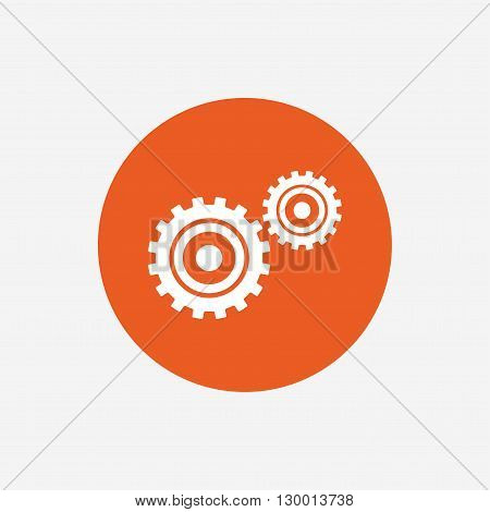 Cog settings sign icon. Cogwheel gear mechanism symbol. Orange circle button with icon. Vector