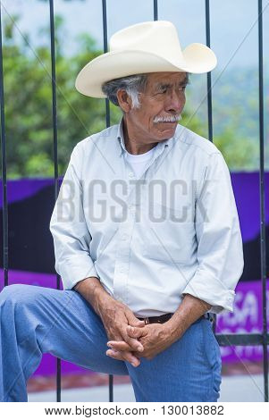 PANCHIMALCO EL SALVADOR - MAY 08 : Portrait of an Salvadoran man during the Flower & Palm Festival in Panchimalco El Salvador on May 08 2016