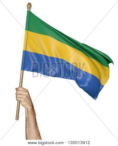 Hand proudly waving the national flag of Gabon, 3D rendering