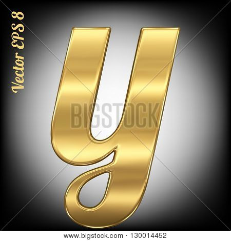 Vector letter y from gold solid alphabet. Eps 8 using mesh.