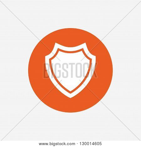 Shield sign icon. Protection symbol. Orange circle button with icon. Vector