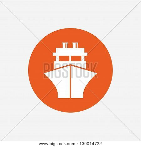 Ship or boat sign icon. Shipping delivery symbol. Orange circle button with icon. Vector