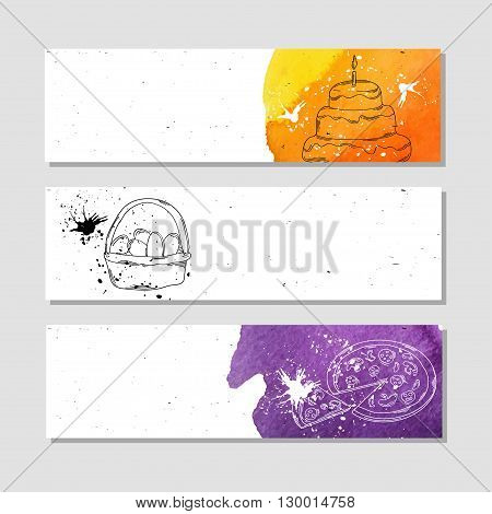 Banners for advertising professional accessories for the Baker. Vector illustration