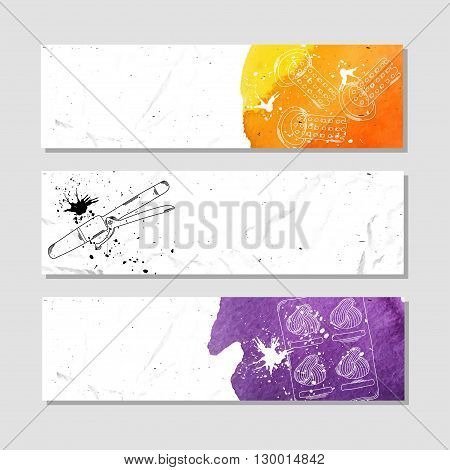 Collection of banners for advertising supplies professional hairdresser and stylist. Vector illustration