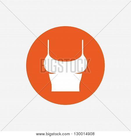 Women T-shirt sign icon. Intimates and sleeps symbol. Orange circle button with icon. Vector