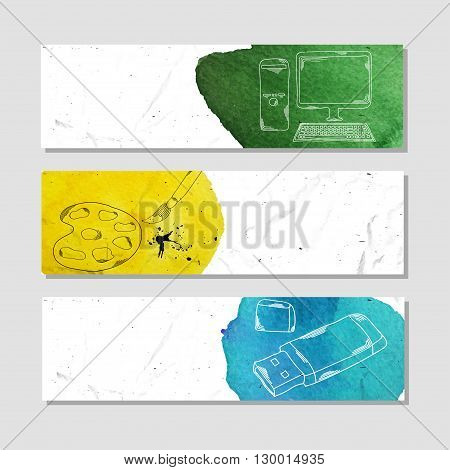 Banners for advertising professional accessories for employees of design agencies. Vector illustration