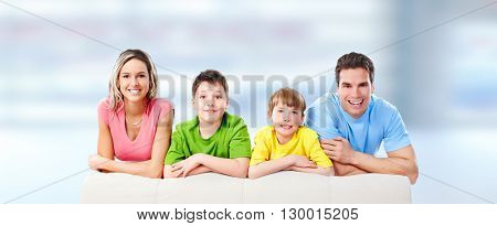 Happy family with kids