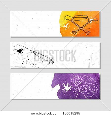 Banners for advertising professional accessories for employees of the medical centers and institutions. Vector illustration