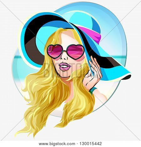 Girl In Sunglasses And Big Hat Vector On Summer Beach